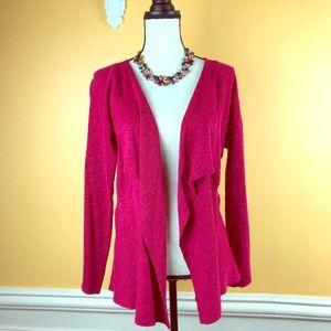 Eileen Fisher Sz M Magenta Cardigan Shrug Sweater